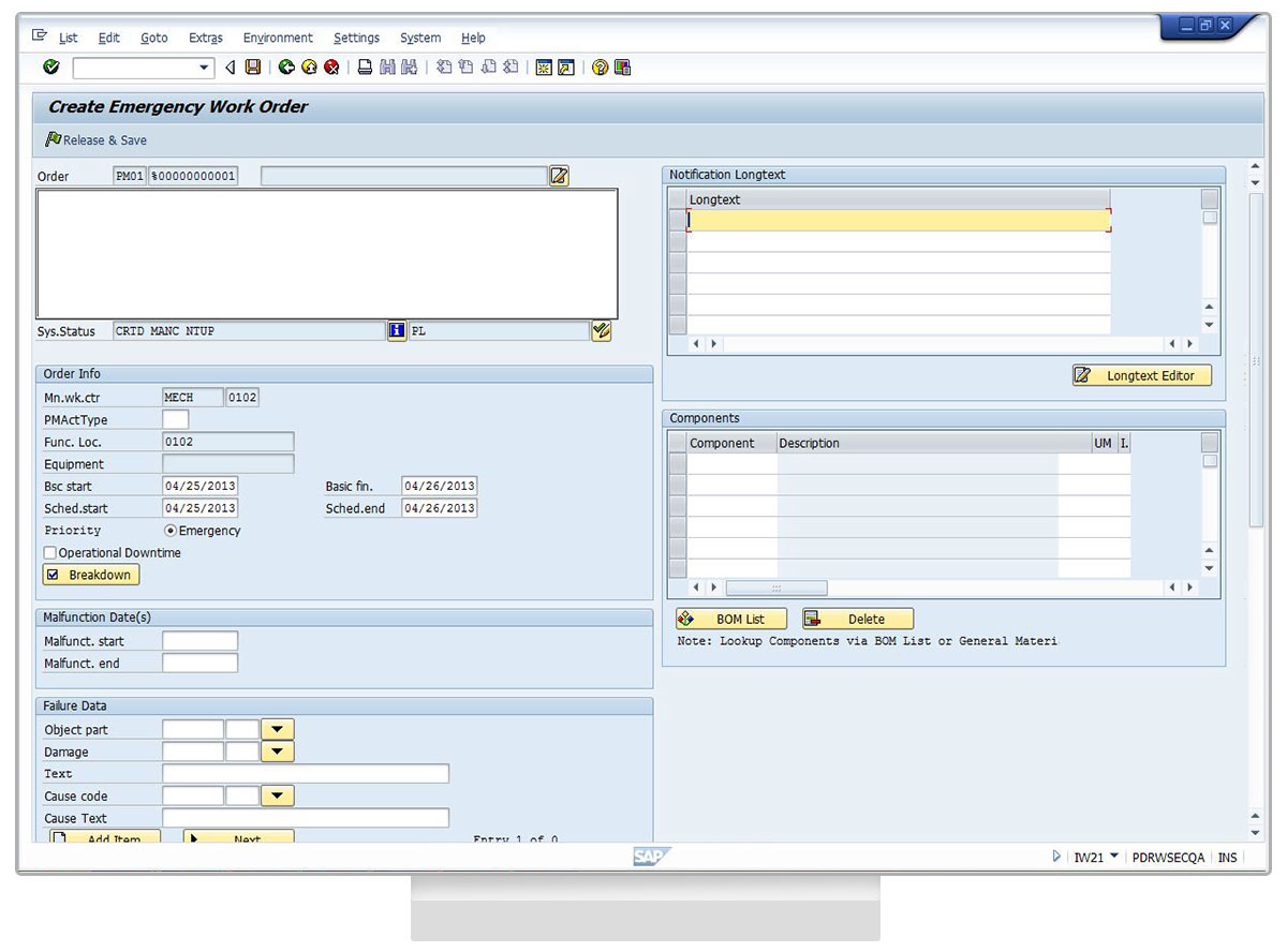 Liquid UI - Efficient SAP PM - Desktop